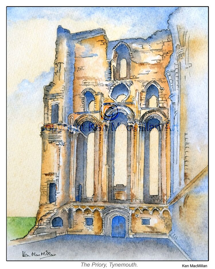 Pen, ink and watercolour of Tynemouth Priory