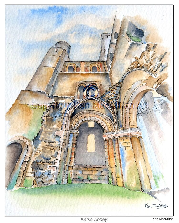 Painting of Kelso Abbey, Kelso, Scottish Borders.