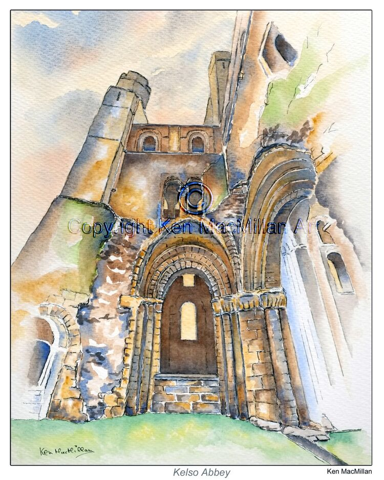 Painting of Kelso Abbey. Kelso, Scottish Borders ( Study 2 ).