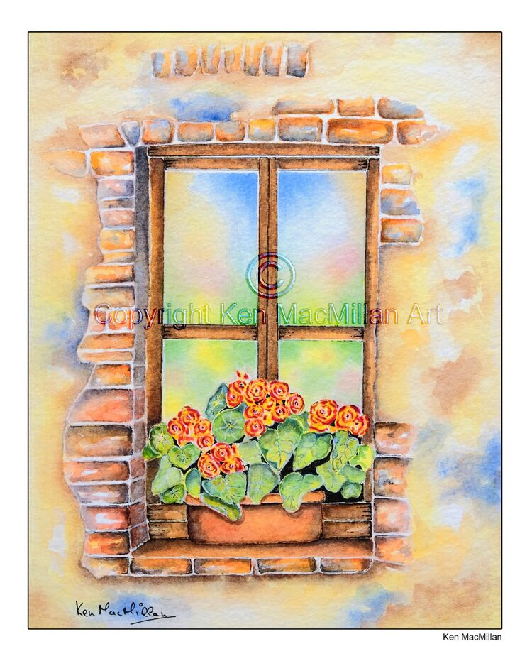 Painting of flowers on a rustic window ledge.