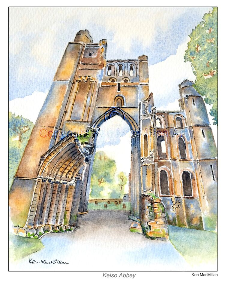Kelso Abbey, Kelso, Scottish Borders. Painting (Study 3 )