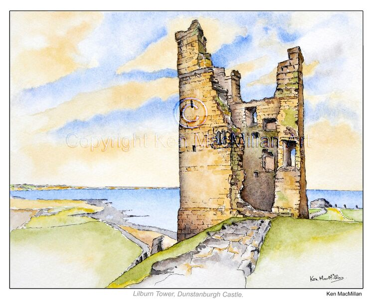 Painting of Lilburn Tower, Dunstanburgh Castle, Northumberland