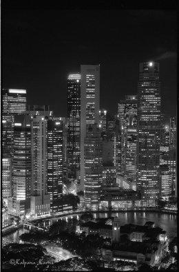 Singapore river at twilight