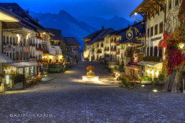 The mountain village of Gruyères in Switzerland