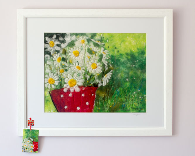 Daisies in Red Spotty Pot