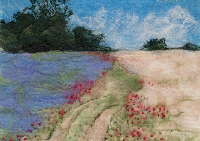 Flax Field with Poppies