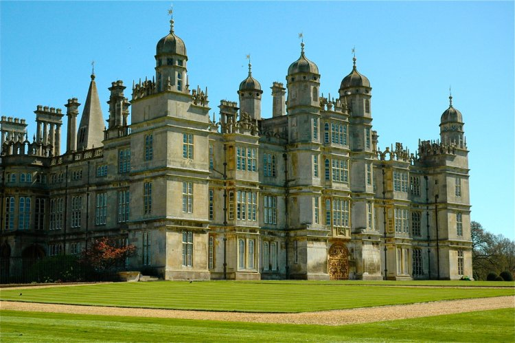 Burghley House, with turret rooms for eating sugar sweets