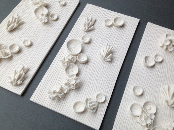 """Found in the FIelds Triptych"" Kathryn Parsons (detail) hand modelled porcelain"