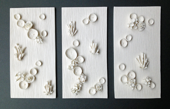 """Found in the Fields Triptych"" Kathryn Parsons, hand modelled porcelain"