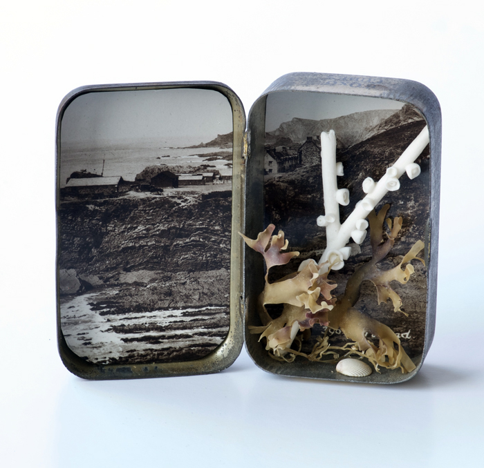 """Hartland, Devon"" Kathryn Parsons, 2017, hand modelled porcelain, found objects, vintage postcard and Bisto tin, 6.5cm tall"