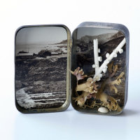 """Hartland, Devon"" Kathryn Parsons, 2017, hand modelled porcelain, found objects, vintage postcard and Bisto tin, 6.5cm tall"