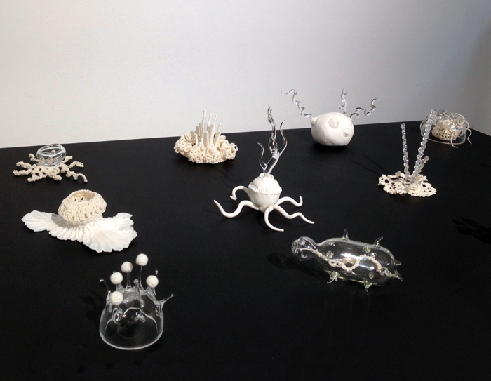 Kathryn Parsons 'Symbiosis' (detail) porcelain, glass and thread micro-fungi