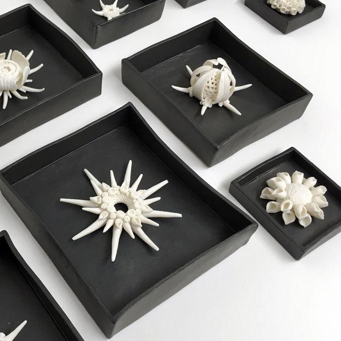 porcelain radiolarian sculptures, Kathryn Parsons