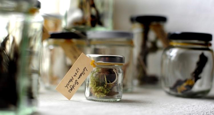 Found in the Fields 1 (detail), Kathryn Parsons, found materials & 42 jam jars