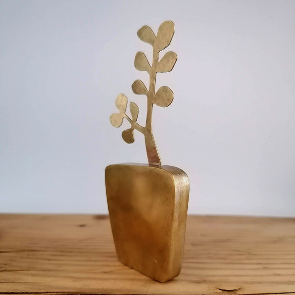 Kerry Day - Brass Money Tree Sculpture standing next to a cactus in a yellow brown ceramic plant pot