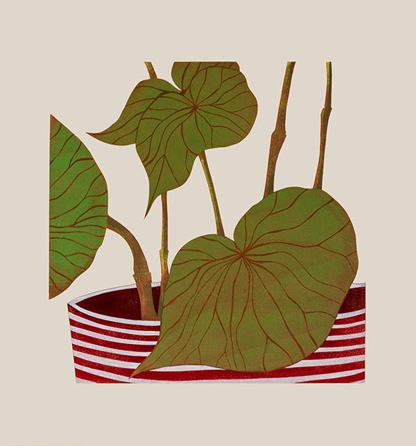 Kerry Day - Begonia - Lino Print