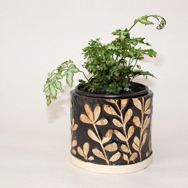 Black and White Ceramic Plant Pot