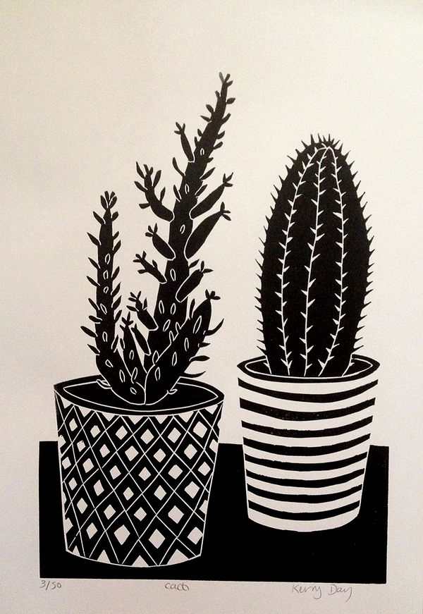 Kerry Day - Cacti - Lino Print