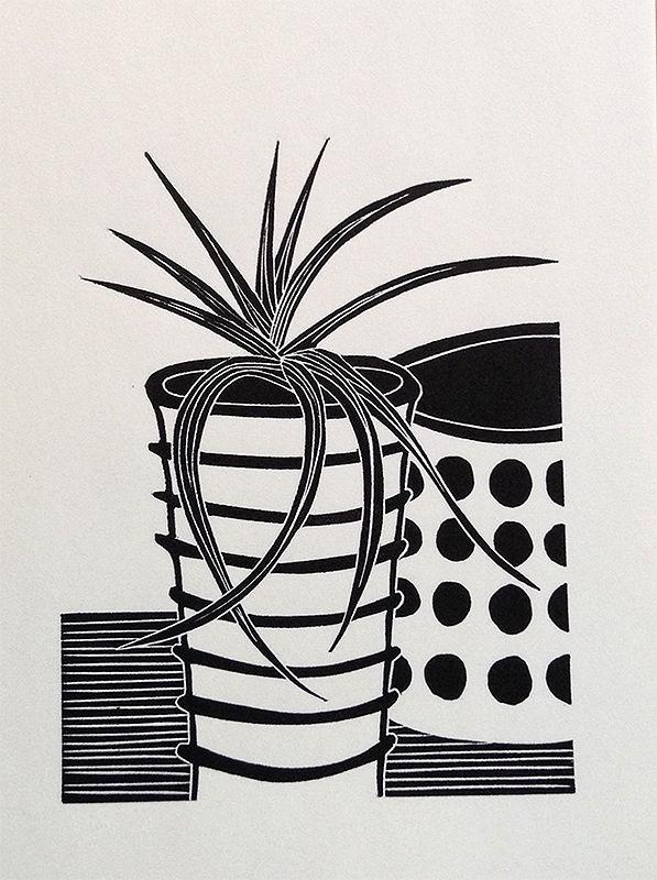 Kerry Day - Chlorophytum Comosum - Spider Plant Still Life - Lino Print