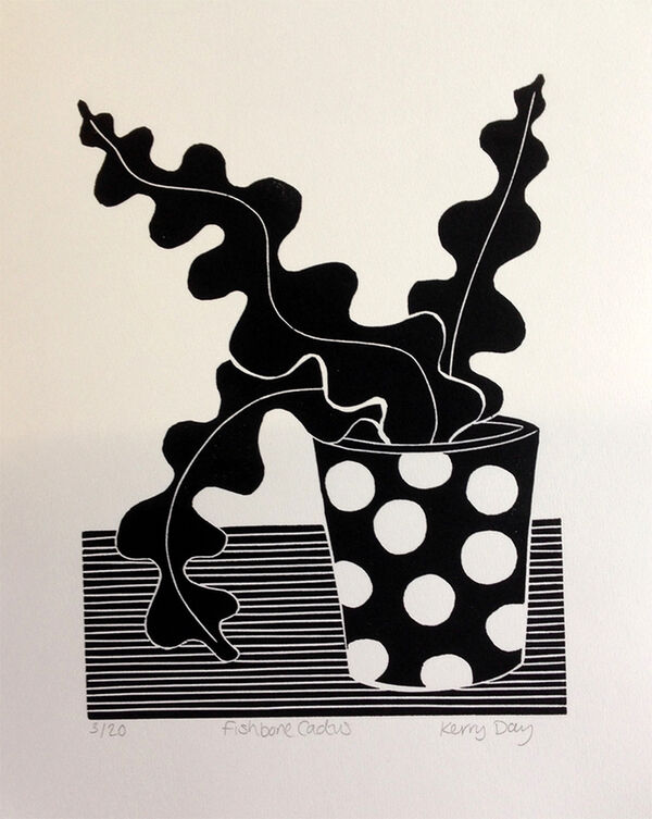 Kerry Day - Fishbone Cactus Lino Print