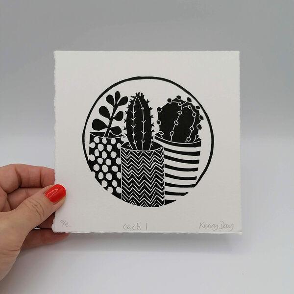 Kerry Day - Cacti 1 Lino Print