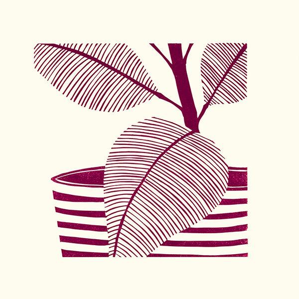 Kerry Day - Magenta Leaves III - Lino Print