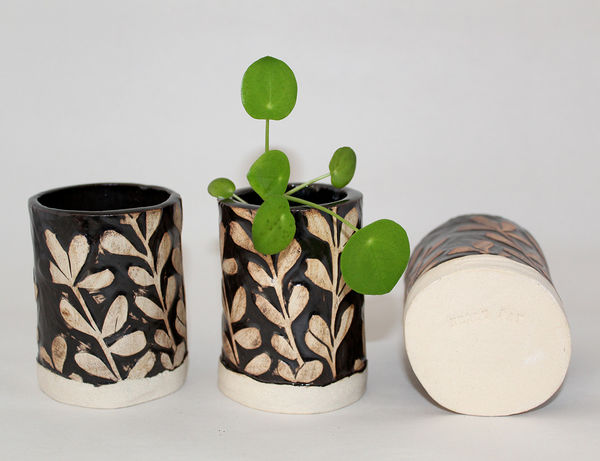 Mini Black and White Ceramic Plant Pots