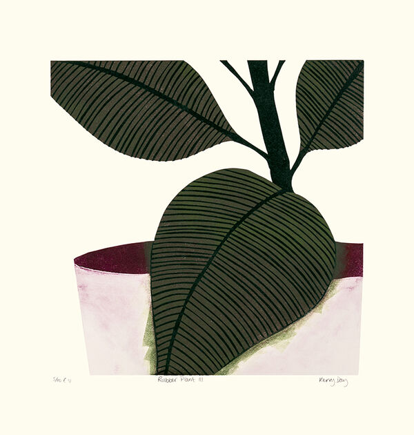 Kerry Day - Rubber Plant III - Lino Print