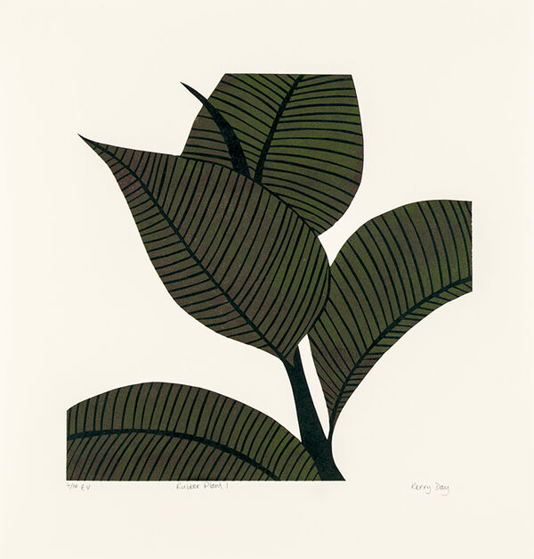 Kerry Day - Rubber Plant I - Lino Print