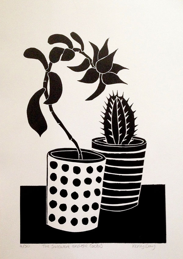 Kerry Day - The Succulent and The Cactus - Lino Print