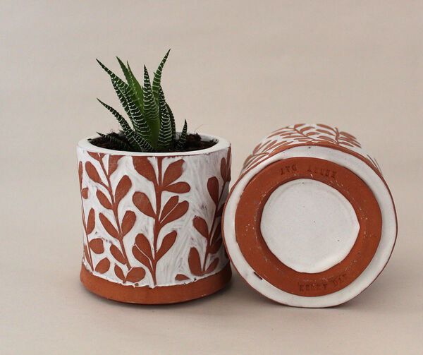 Kerry Day - Terracotta and White Plant Pot
