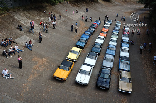 30 specially selected Ford Capris assembled on the famous Brooklands Banking at an event to celebrate 40 years of the car.