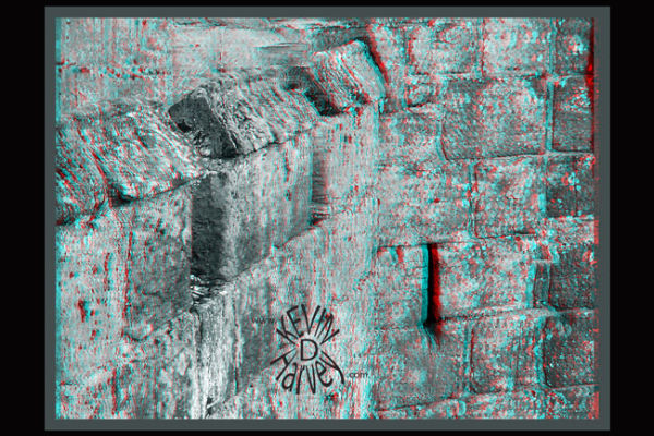 Anaglyph of bodiam wall