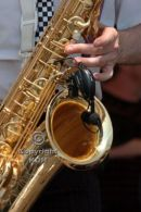 Sax player close up