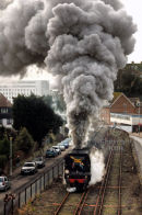 Steam locomotive Tangmere climbing the Folkestone harbour bank. January 2009.