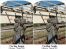 Stereoscopic view of the Rug People at Folkestone.