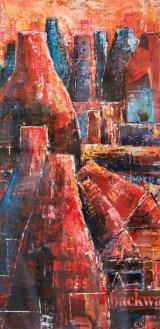 Bottle Kilnes, Stoke.  A study in red.