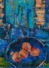 Still life with Bottles and Oranges