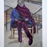 Giri with the purple scalf acrylic on paper 18x12 inches jpg