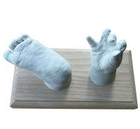 Two baby casts on wooden plinth
