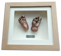 Copper 3D hand & foot casts in solid oak frame