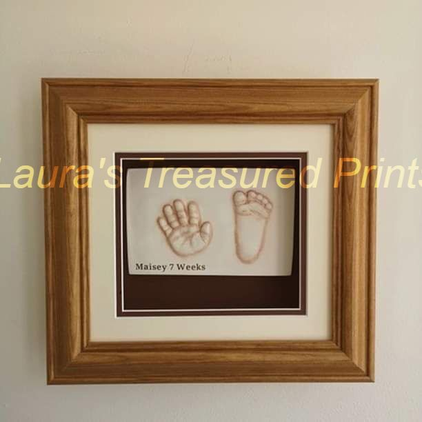 2D Prints-Framed hand and foot- 7 week baby