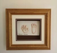 Framed hand and foot 2D Prints of a 7 week old baby