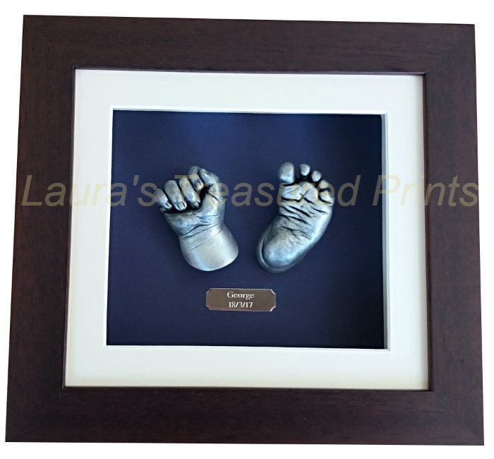 3D hand & foot baby casts in a mahogany frame