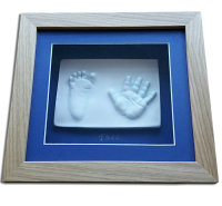 2D child's handprint & footprint plaque with blue mount and oak frame