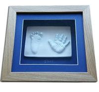 2D child's handprint & footprint plaque with blue mount and oak frame