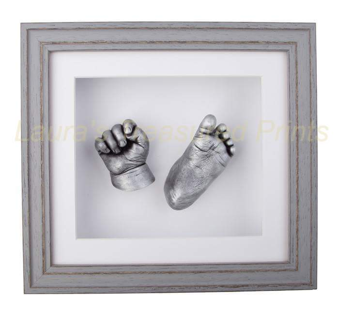 3D hand & foot baby casts in a beautiful grey frame