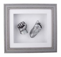 3D baby casts mounted in a beautiful grey frame