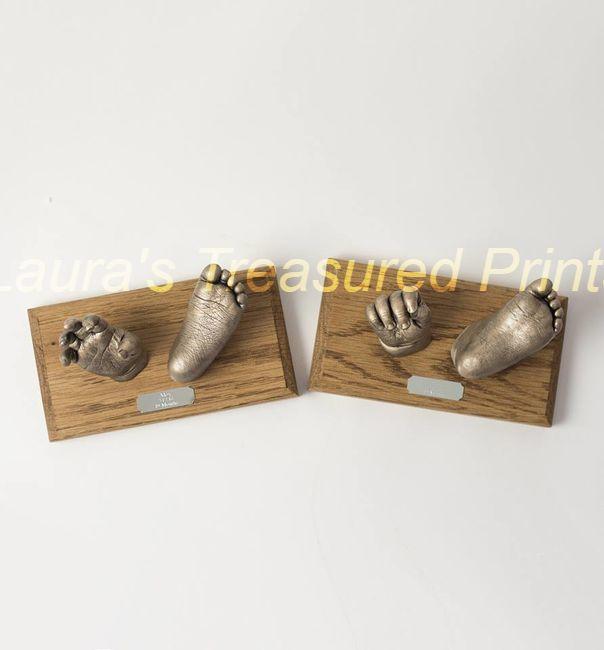 Twin boys, 3D hand & foot casts on oak plinth