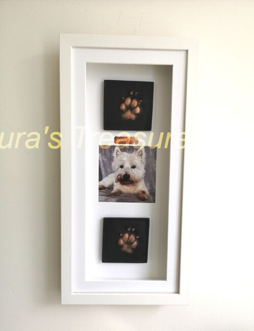 Westie 2D  paw prints with photo